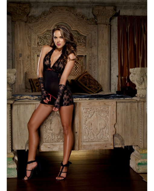 Microfiber Halter Chemise w/Stretch Lace, Thong & Fingerless Glove Restraints Black O/S