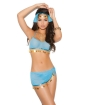 Vivace 4 pc Mesh Top, Skirt, Head Piece & G-String Turquoise O/S