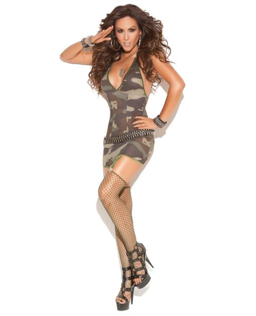Vivace Mini Dress w/Garters, Diamond Net Stockings Camouflage O/S