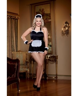 4 pc Maid Me Dirty Apron, Maid Cap, French Cuffs, Panty w/Dirty Screen Print Black/White QN