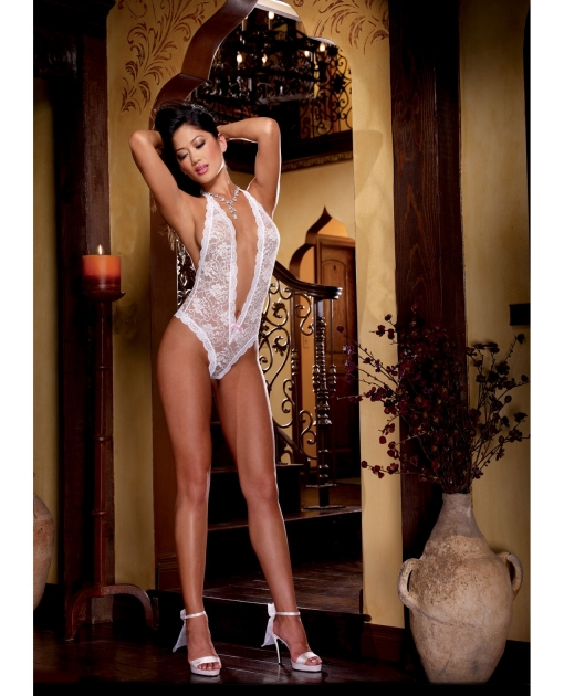 Halter Stretch Lace Teddy w/Plunging Neckline, Halter Ties & Heart Cut Out on Back White O/S