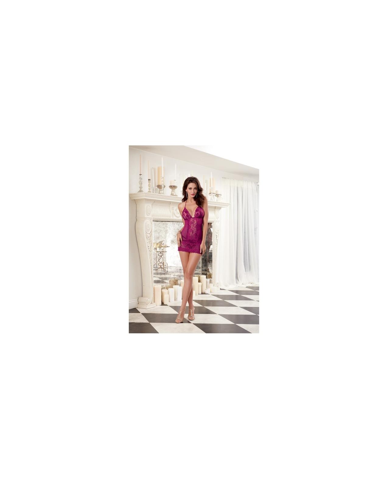 Stretch Lace Galloon & Stretch Mesh w/Spandex Halter Chemise w/Lace Hem & Thong Raspberry MD