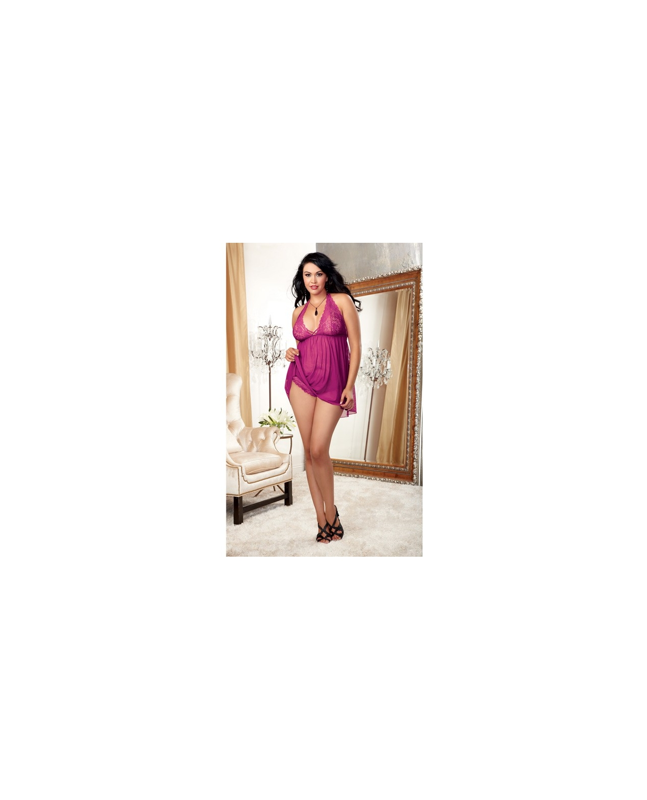 Stretch Mesh & Lace Galloon Halter Babydoll w/Adjustable Neck Ties & Tanga Panty Raspberry 1X-2X