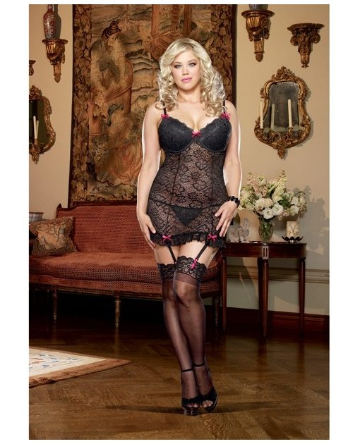 Stretch Lace Underwire Garter Slip w/Adjustable & Removable Straps & Thong Black 1X/2X