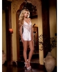 Nuptial Satin Charmeuse w/Scalloped Lace Trim & Criss Cross Adjustable Straps & Thong White XL