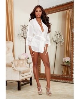 Chiffon & Stretch Lace Short Length Kimono Robe & Cheeky Panty White MD