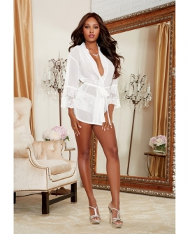 Chiffon & Stretch Lace Short Length Kimono Robe & Cheeky Panty White XL