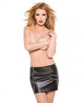 Faux Leather Zipper Skirt Black LG