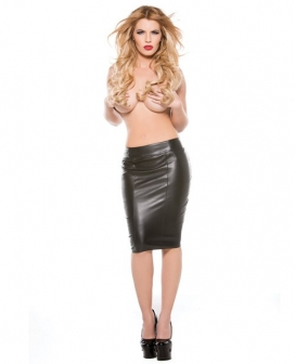 Faux Leather Pencil Skirt Black XL