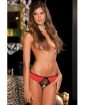 Rene Rofe Crotchless Frills Panty w/Back Bows Red S/M