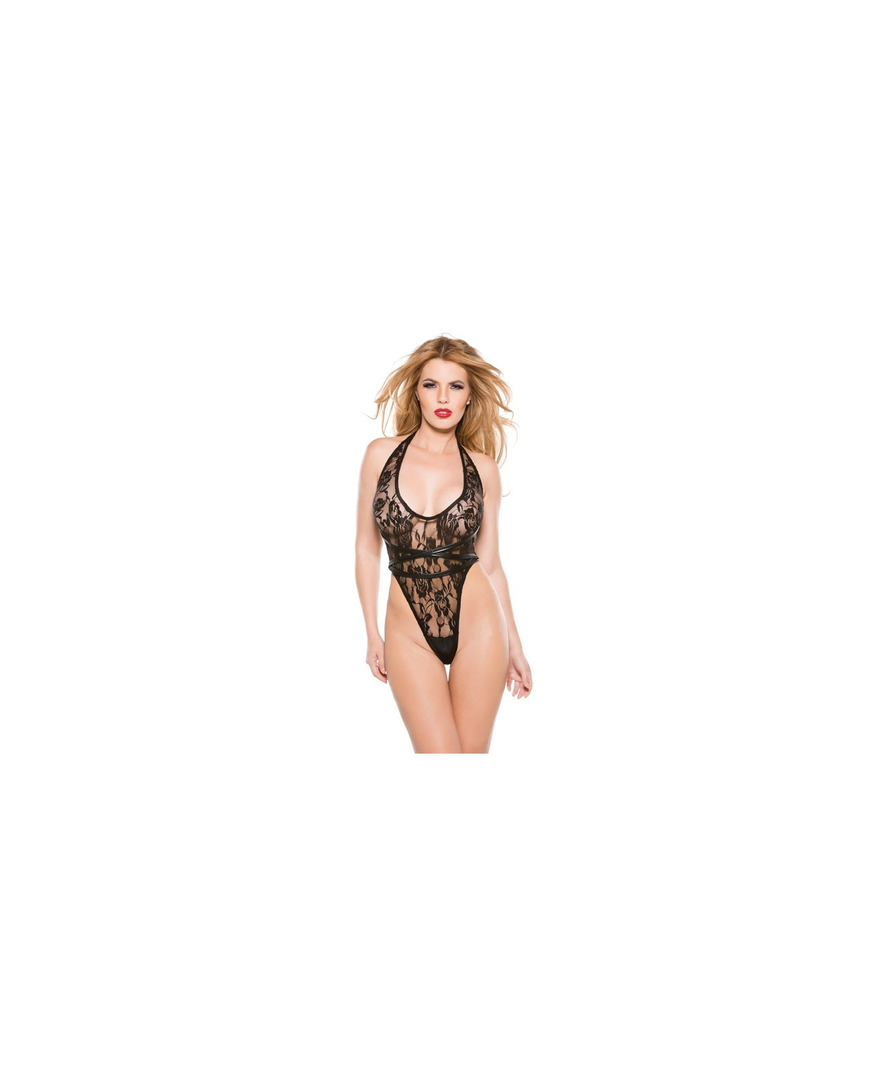 Kitten Lace & Wet Look Halter Teddy Black O/S
