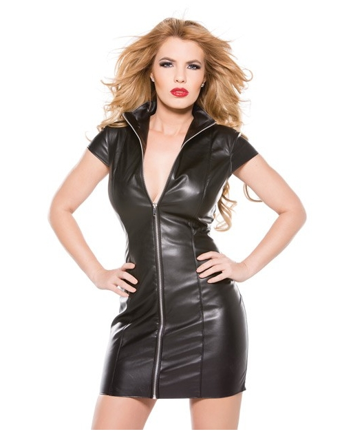 Faux Leather Dress Black