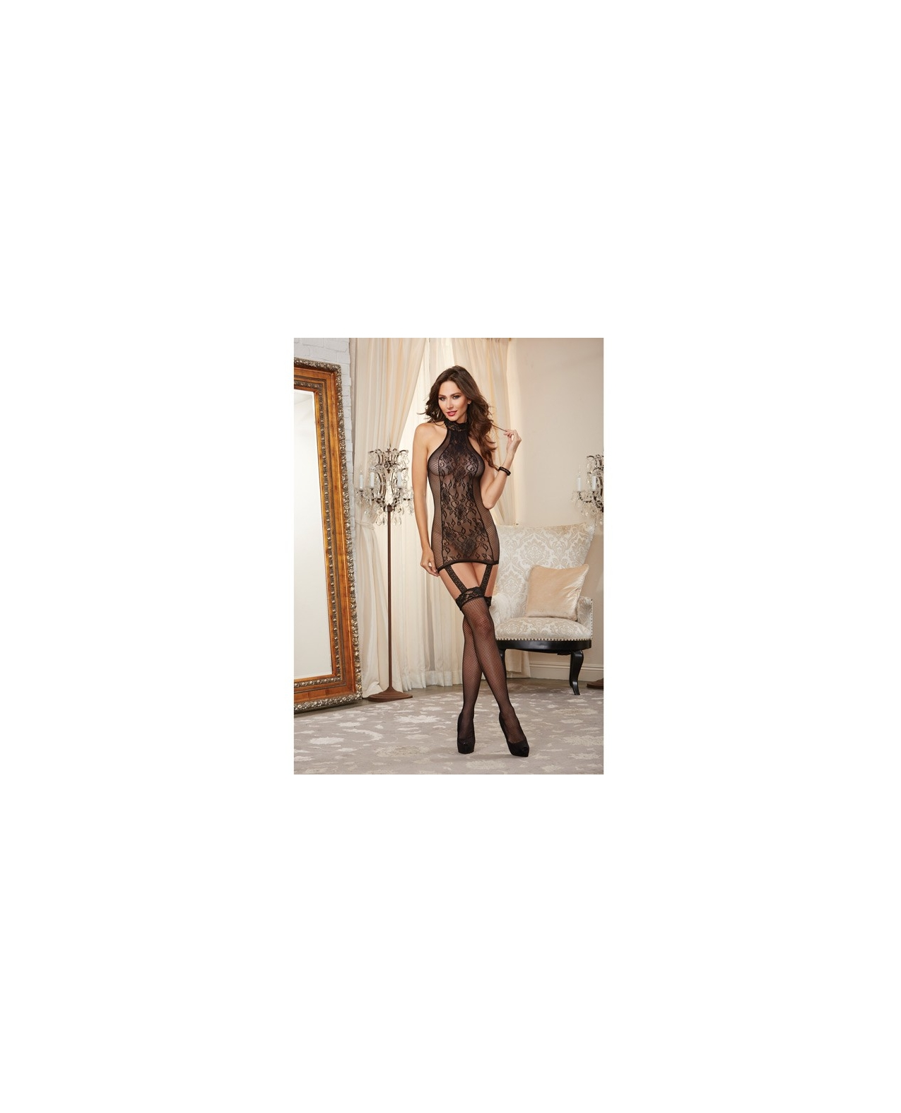 Lace Garter Dress w/Fishnet Sides & Attached Thigh High Stockings Black O/S