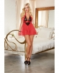 Stretch Mesh Halter Babydoll w/Tie Back Closure & G-String Lipstick Red/Black O/S