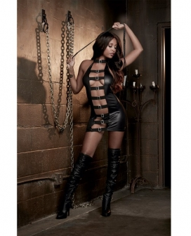 Fetish Faux Leather-Look Stretch Knit Chemise w/Mesh Back & Braided Leather Whip Black O/S