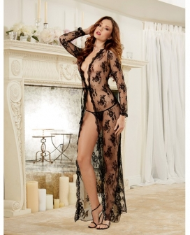 Delicate Lace Open Front Gown & G-String Black MD