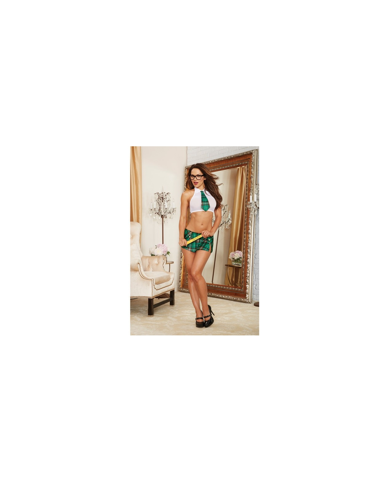 4 pc Stretch Mesh Halter Crop Top w/Attached Tie, Mini Skirt, Glasses & Ruler Green Plaid O/S