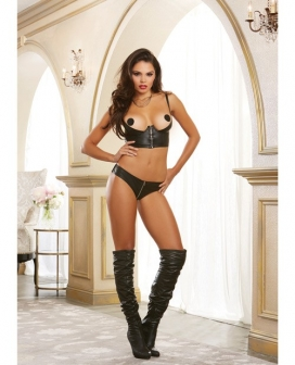 Faux Leather-Look Strtch Knit Undrwre Shelf Bustier w/Strtch Mesh Back & Adjstble Straps Black 32