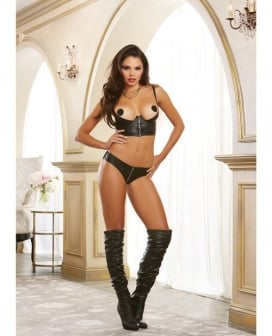 Faux Leather-Look Strtch Knit Undrwre Shelf Bustier w/Strtch Mesh Back & Adjstble Straps Black 38