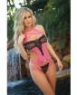 Cut Out Teddy w/Dazzling Straps & Contrasting Lace Pink/Black O/S