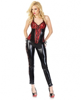 Darque Wet Look Bustier w/Lace & Satin Ribbon Lace Up & Underwire Padded Cups Red/Black SM