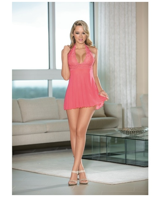 Sheer Halter Tie Baby Doll w/Lace Coral Pink LG