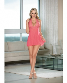 Sheer Halter Tie Baby Doll w/Lace Coral Pink SM