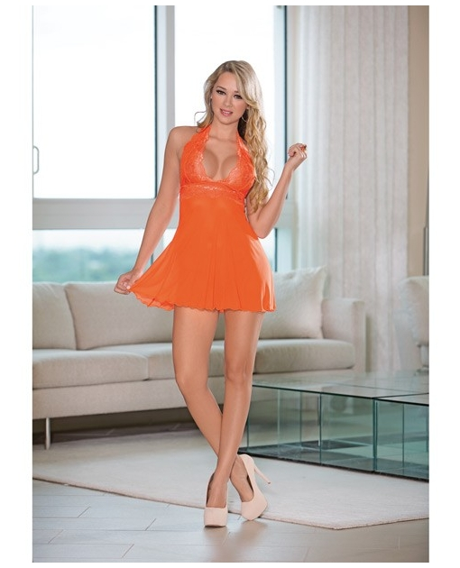 Sheer Halter Tie Baby Doll w/Lace Sunset MD