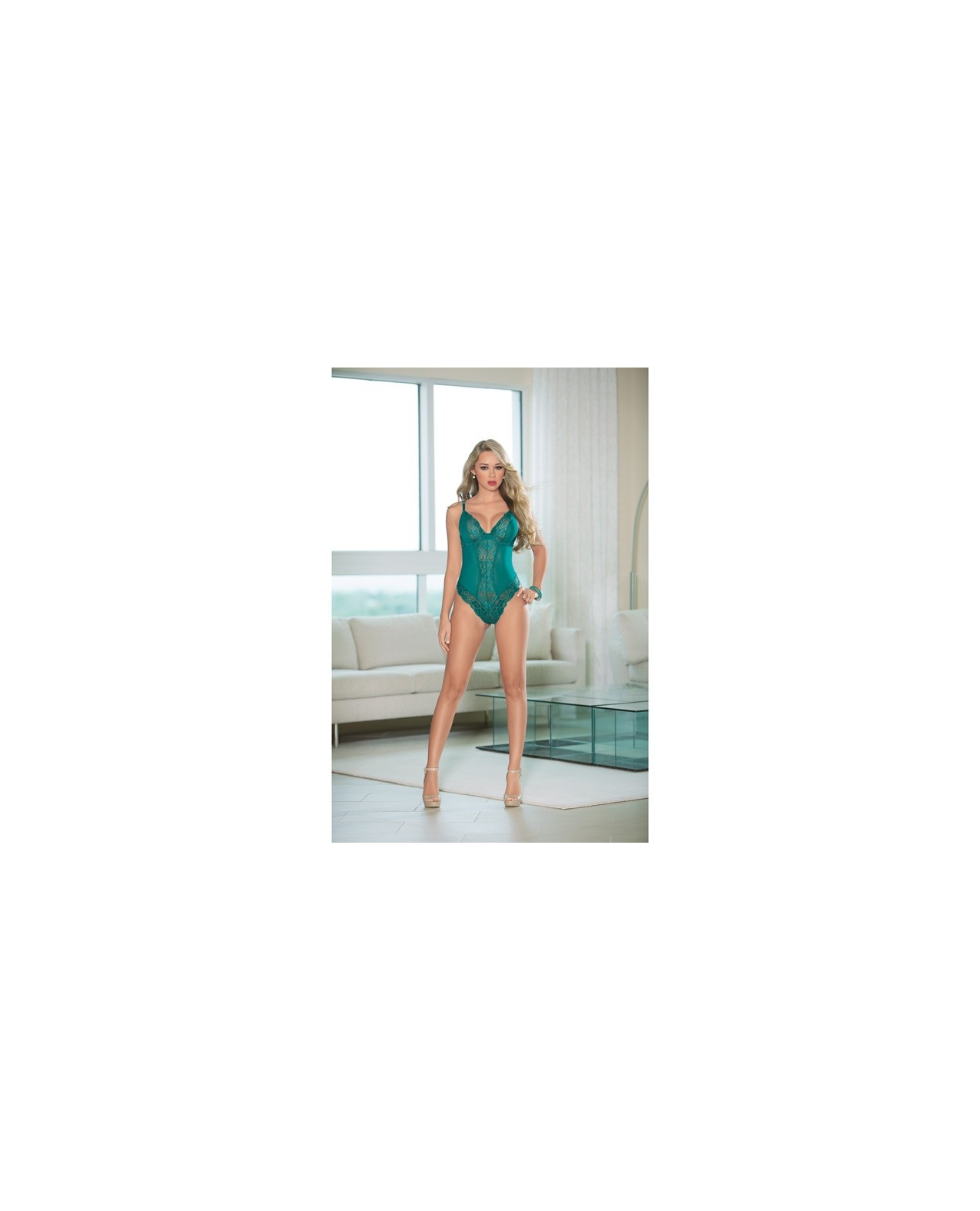 Lace Teddy w/Open Back Teal LG
