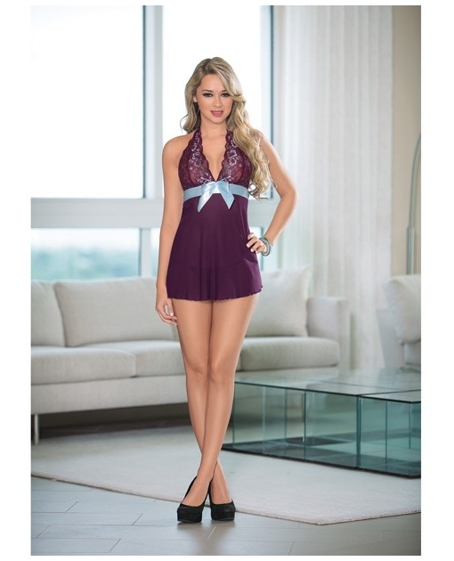 Sheer Baby Doll w/Ribbon Bow Plum/Turquoise LG