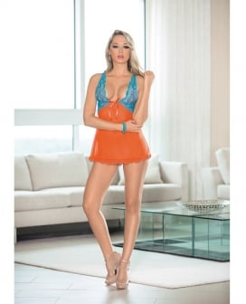 Lace & Mesh Baby Doll w/Bow Orange/Ocean Blue LG