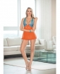 Lace & Mesh Baby Doll w/Bow Orange/Ocean Blue SM