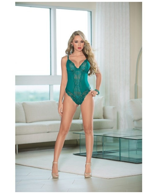 Lace Teddy w/Open Back Teal 1X