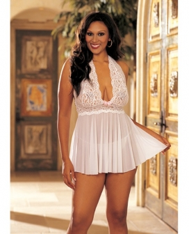 Sheer Halter Babydoll w/Lace & Bow White 1X/2X