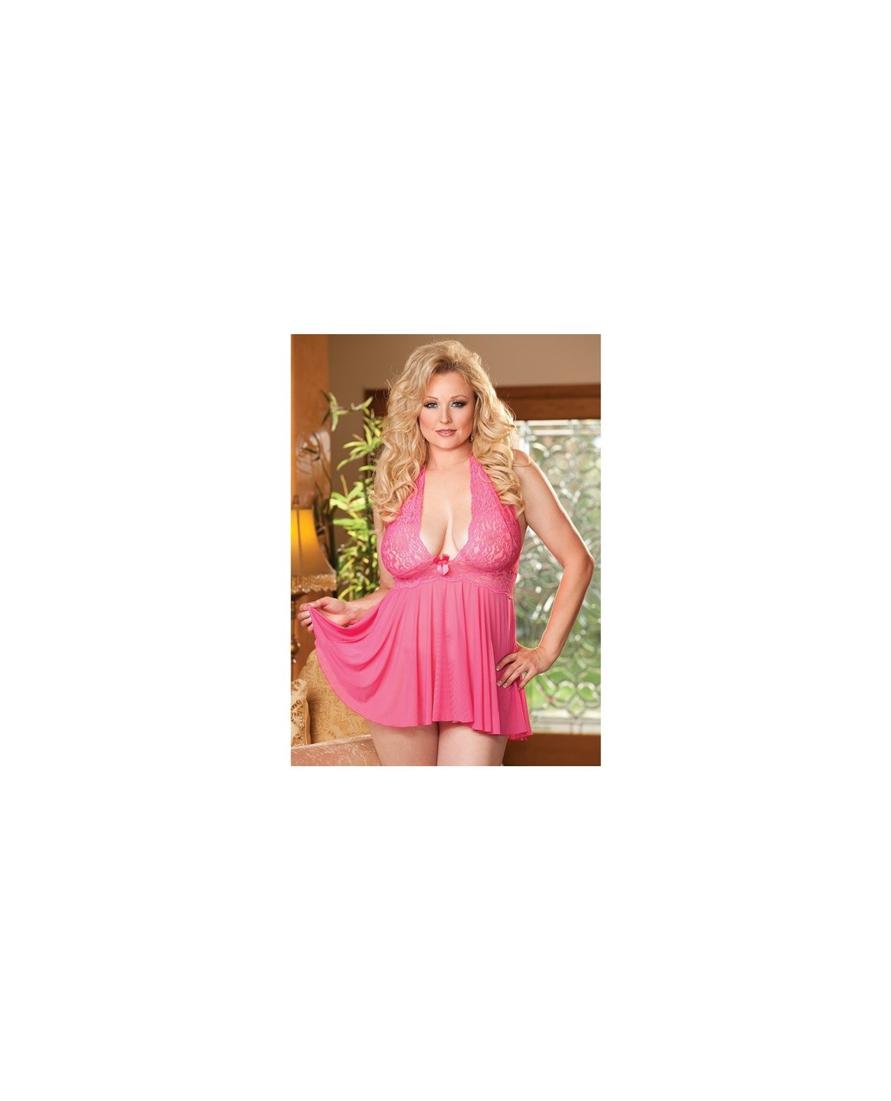 Sheer Halter Babydoll w/Lace & Bow Hot Pink 3X/4X