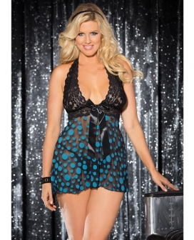 Sheer & Lace Babydoll w/Bow & Polka Dots Turquoise/Black 3X/4X