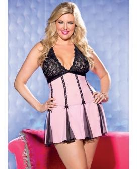 Lace Halter Babydoll w/Net & Bows Pink/Black 1X/2X