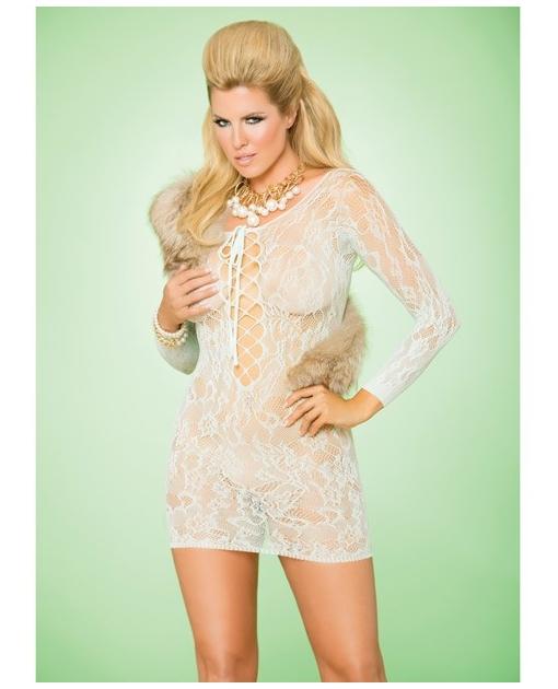 Vivace Long Sleeve Lace Mini Dress w/Lace Up Front Mint Green QN