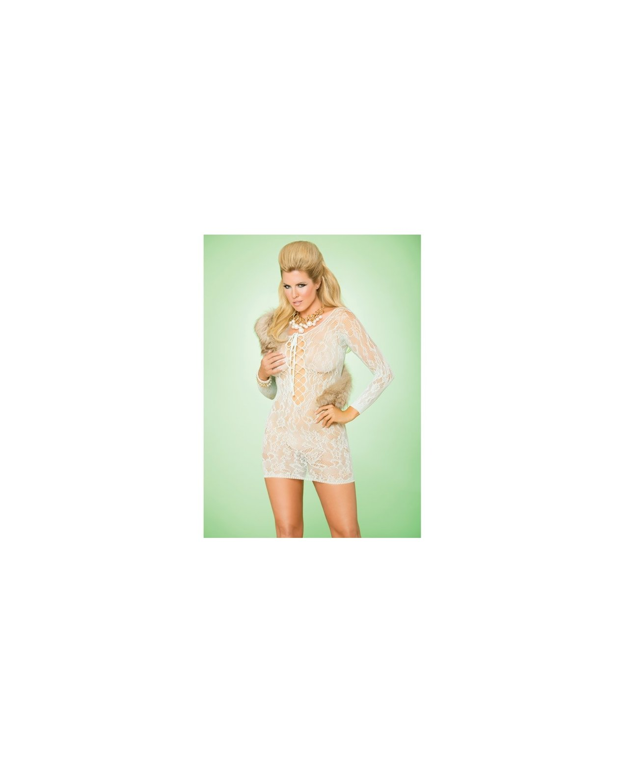 Vivace Long Sleeve Lace Mini Dress w/Lace Up Front Mint Green QN
