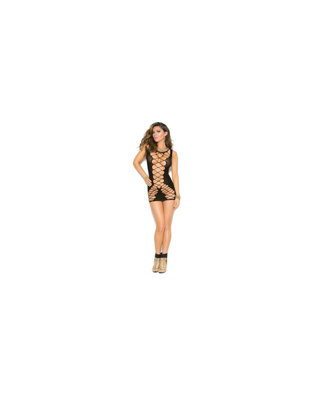 Vivace Seamless Crochet Mini Dress Black O/S