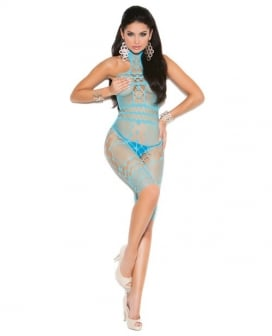 Vivace Crochet & Fishnet Halter Neck Mid Length Bodystocking Turquoise O/S