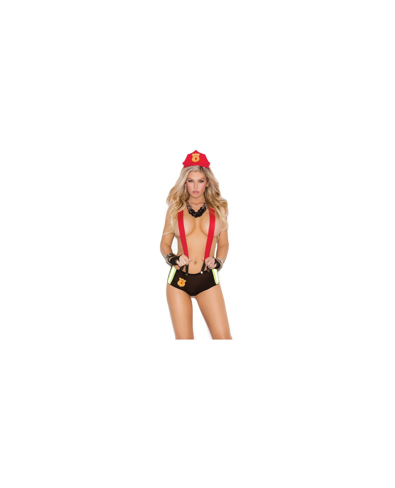 Vivace Put Out My Fire Mesh Booty Shorts w/Attached Suspenders & Head Piece Black O/S