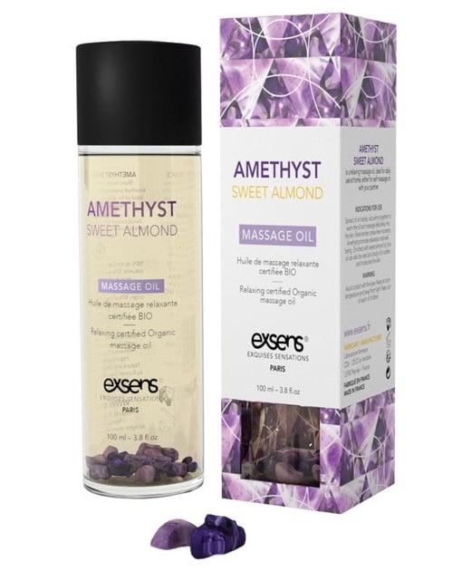 EXSENS of Paris Organic Massage Oil - Sweet Almond w/Amethyst Crystals
