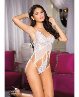 Stretch Lace & Mesh Strappy Teddy White XL