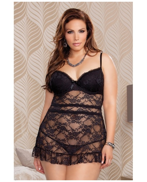Stretch Lace Babydoll w/Molded Underwire Cups, Fly Away Back & G-String Black 3X