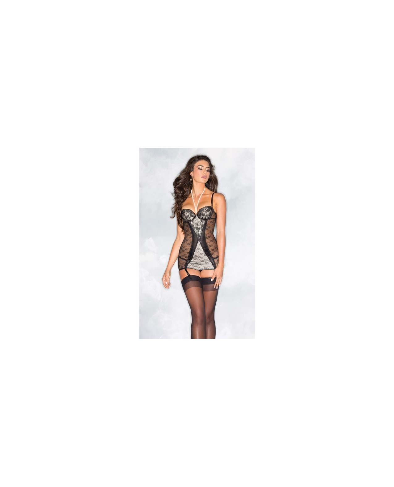 Sheer & Lace Chemise w/Pearls Over Neck & Back Zipper Black/Cream LG
