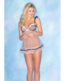 Sheer Chemise w/Lace & Padded Cups & Thong Pink LG