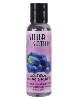 Sour Sin Sations Warming Edible Oil - 2 oz Gorgeous Sour Grape