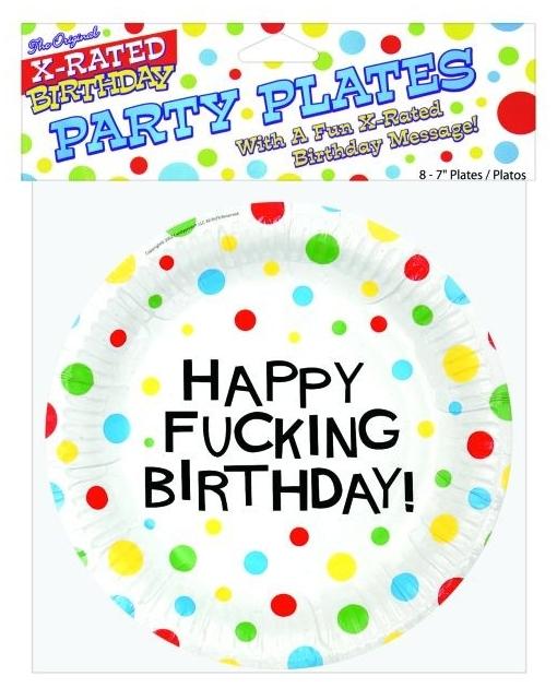 "7"" Happy Fucking Birthday Plates - Bag of 8"