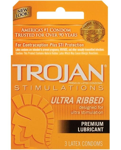 Trojan Ribbed Condoms - Box of 3